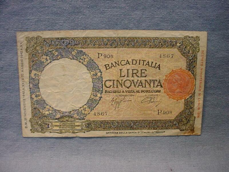 1942 Italy 50 Lire Banknote