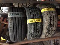 """Part Worn tyres 17"""", 215 40 17, 205 40 17, 205 50 17"""