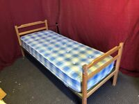 2,6 FT SINGLE WOOD / METAL BED WITH MATTRESS,CAN DELIVER