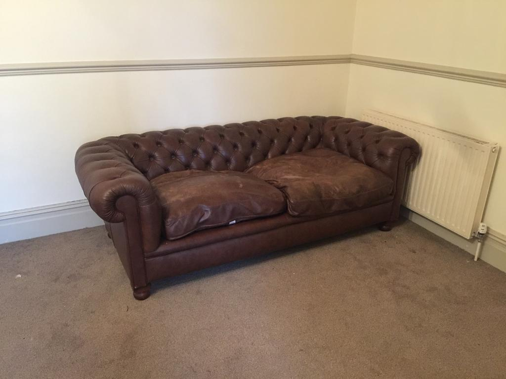 Laura Ashley Brown Leather Chesterfield Sofa 200 In Newport