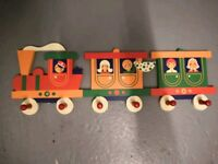 Children's wooden train hanger