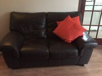 Brown leather 2 seater sofa and matching arm chair