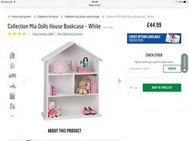 Argos doll house style bookshelf New in Box