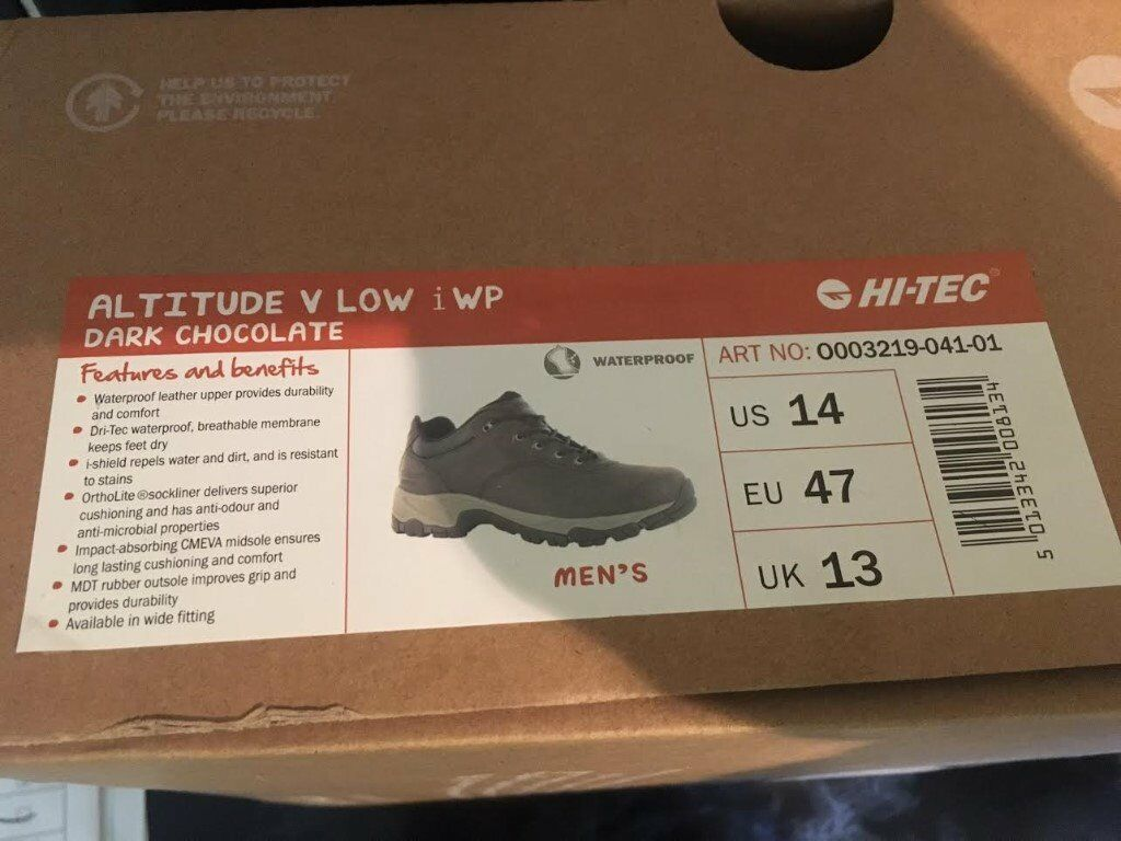 5572714455938b Hi-Tec Mens Altitude v Low i WP walking shoes in Dark Chocolate. Size UK13  Brand New & Boxed