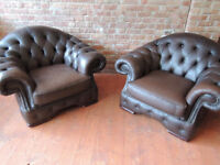 Pair of Chesterfield antique brown armchairs (Delivery)