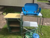 Camping kitchen stand ,cooker, 907camping gas cylinder, double air bed