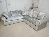 "BRAND NEW WARM AND COSY GLP CRUSH VELVET UNIT/3+2 ON SPECIAL OFFER ""EXPRESS DELIVERY"""