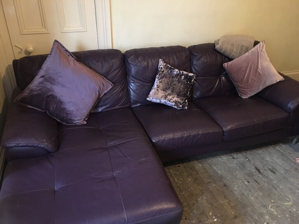 Dfs Leather Sofa Aubergine Colour With Twirl Chair And Foot Stool