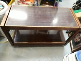 Coffee Table - retro wood dark swing out