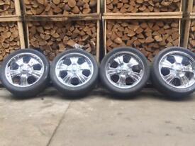 """20"""" 5x130 Chrome alloys wheels & tyres"""