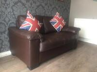 2 seater brown faux leather sofa - can deliver