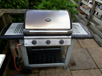 Gas BBq 3 burner Fire Mountain model with gas bottle