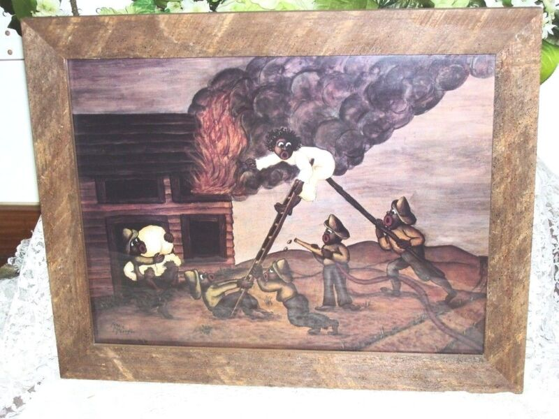 Framed Antique Black American Print Fire Fighters by Marie McLaughlin