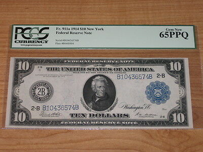 1914 $10 FEDERAL RESERVE NOTE   PCGS 65PPQ GEM NEW