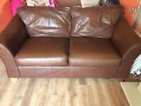 REDUCED Two M&S brown leather sofas