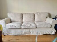 Comfy three seater sofa in cream