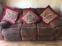 Sofa. Brown 3 seater reclining.