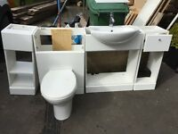 Complete white bathroom suite