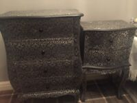 Beautiful black and silver embossed bedroom furniture