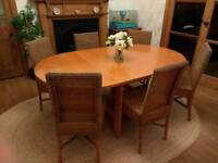 Solid beech wood dining table and chairs (accompanied by free sideboard if wanted)