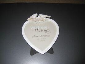 Waitrose White Bird Design Heart Photo Frame