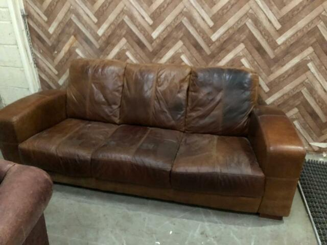 Tan Leather Mancave Sofa In Houghton