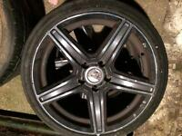 Set of 4 wolfrace 18 inch alloys and tyres Honda Civic type r 5x114.3 jap fitment