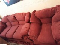 settee 3 seater and 2 armchairs wine colour