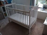 John Lewis Eric dropside cot white with mattress