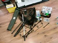 2 carp rods with various accessories