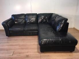 Black real leather corner sofa with free delivery within 10 miles