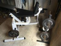 Leg Machine by Body Solid. Blitz those quads and hamstrings. Weight tree and weights included.