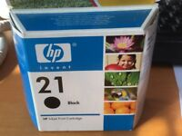 HP 21 Genuine Original Ink Cartridges. 2 available. Boxes unopened & sealed.