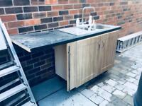 Free stainless steel sink and unit.