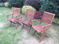 3 x Wooden Garden Chairs - Unused