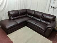Burgundy leather left handed corner sofa