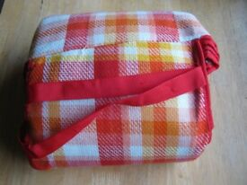 Large picnic blanket with orange check, insulated waterproof reverse, 190cm x 190cm