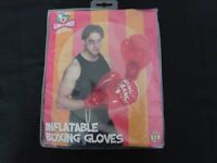HALLOWEEN FANCY DRESS BOXING GLOVES - RED INFLATABLE - NEW IN PACKAGING - QUICK, FUN & EASY COSTUME