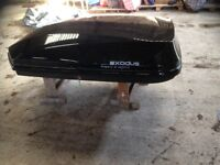 Large black roof box used only twice -as new. Pictures and spec tell all.