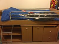 Cabin bed with desk and chair for sale