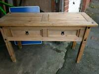 Pine hall table with drawers £35