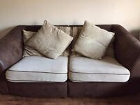 sofa and arm chair with cushions, covers are removable and washable, good condition, can deliver