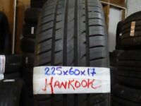 MATCHING SET OF 4x 225 60 17 HANKOOKS TREAD AS NEW £140 SUP & FITD(loads more av TXT SIZE TO
