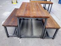 Mid height industrial style table and two benches
