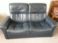 Stressless Blue Leather Reclining Sofa