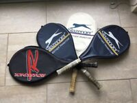 Assortment of FOUR (4) Tennis Rackets Strings are all complete