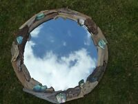 Beautiful handmade circular driftwood mirror