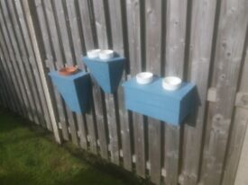3 new Wooden Fence or Wall planters