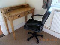 Antique pine desk & Swivel chair
