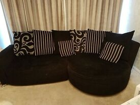 3 piece suite in black and grey